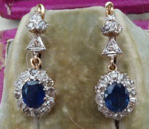 Stunning art deco 18ct 18k gold 2.5ct oval cut sapphire and diamond vintage antique drop earrings